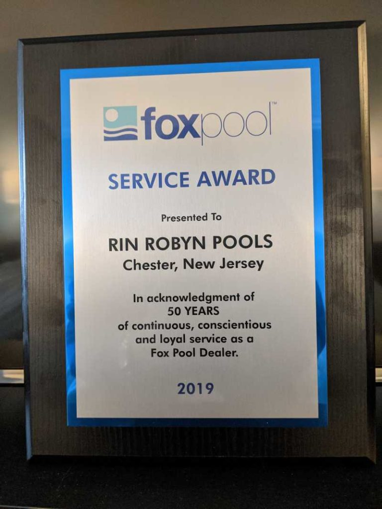 Fox Pool 50 years of service awarded to Rin Robyn Pools in 2019