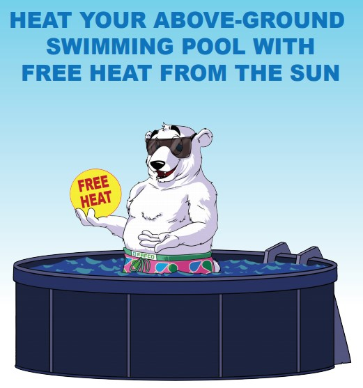 Solar Bear in an above ground pool holding a free heat sign and text on top saying heat you above ground swimming pool with free heat from the sun.