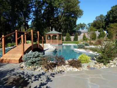 An example of Rin Robyn's design. A natural swimming pool with gazebo and bridge
