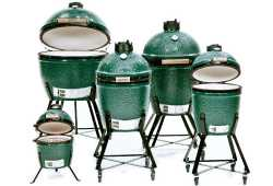 Shows the Big Green Egg family of smokers in all sizes