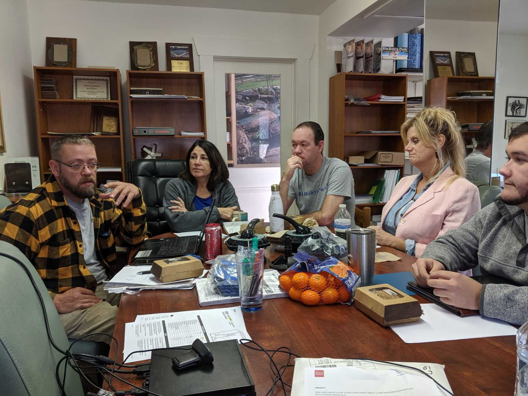 A team meeting in the Hackettstown Store Conference Room – July 2019